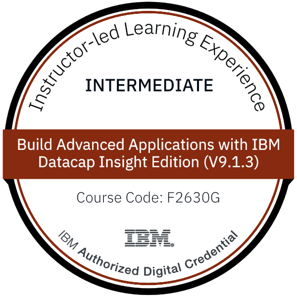 Build Advanced Applications with IBM Datacap Insight Edition (V9.1.3) - Code: F2630G