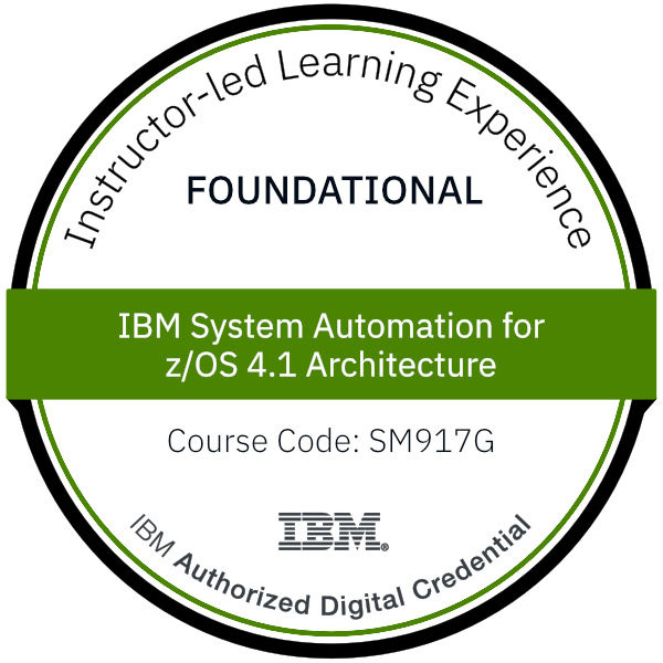 IBM System Automation for z/OS 4.1 Architecture - Code: SM917G