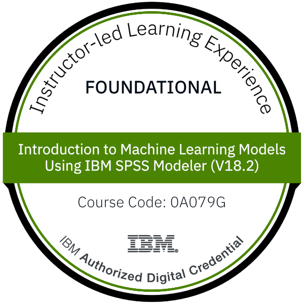 Introduction to Machine Learning Models Using IBM SPSS Modeler (V18.2) - Code: 0A079G