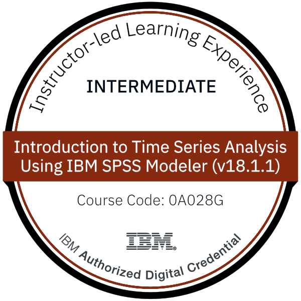 Introduction to Time Series Analysis Using IBM SPSS Modeler (v18.1.1) - Code: 0A028G