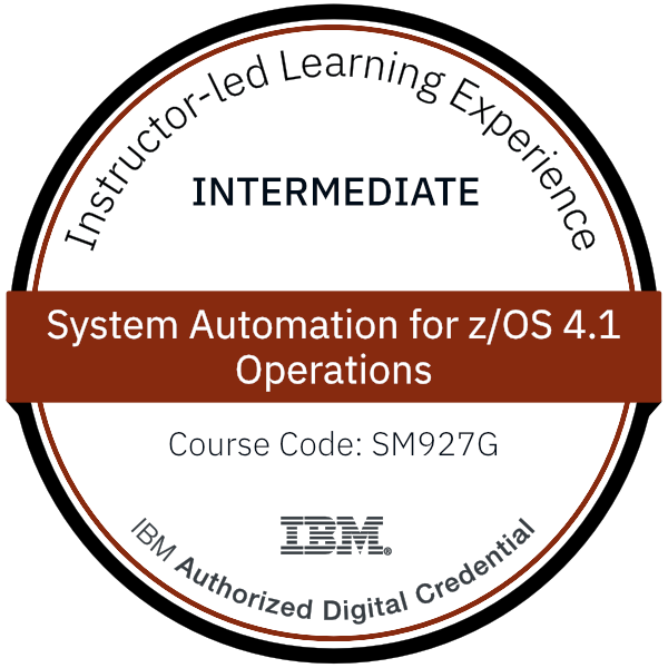 System Automation for z/OS 4.1 Operations - Code: SM927G