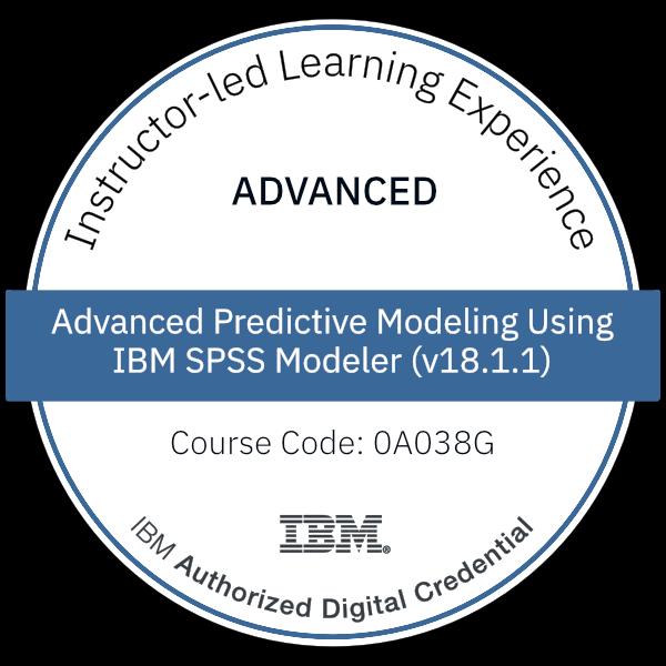 Advanced Predictive Modeling Using IBM SPSS Modeler (v18.1.1) - Code: 0A038G