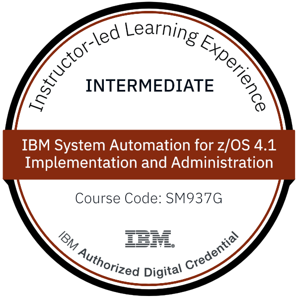 IBM System Automation for z/OS 4.1 Implementation and Administration - Code: SM937G