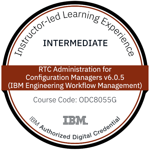 RTC Administration for Configuration Managers v6.0.5 (IBM Engineering Workflow Management) - Code: ODC8055G